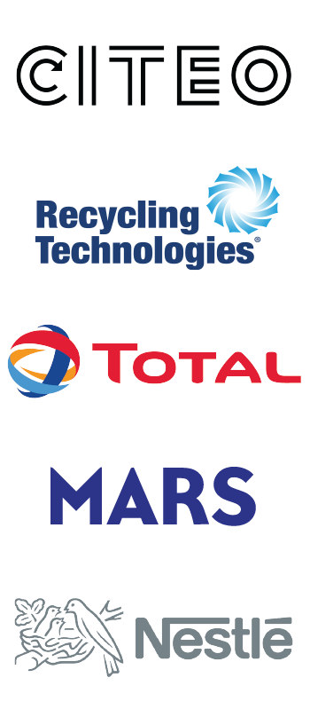 Project Fuscia partner logos - CITEO, Recycling Technologies, Total, Mars and Nestle